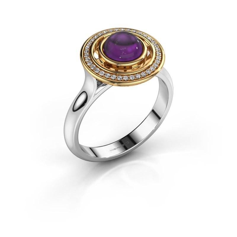 Ring Salima 585 witgoud amethist 6 mm