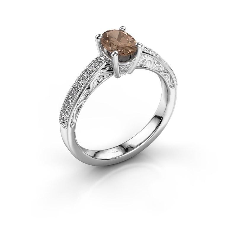 Bague de fiançailles Shonta OVL 925 argent diamant brun 0.93 crt