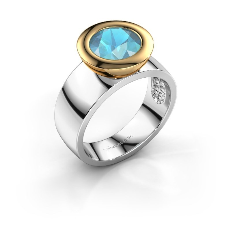 Ring Maxime 585 witgoud blauw topaas 8 mm