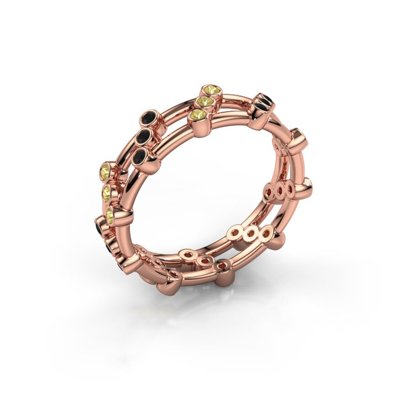 Bague Floortje 585 or rose diamant noir 0.216 crt
