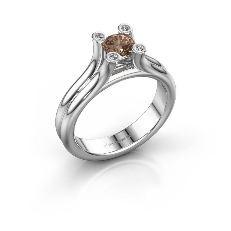 Engagement ring Stefanie 1 925 silver brown diamond 0.50 crt