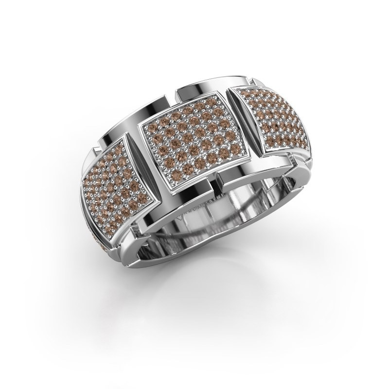 Ring Laura 585 witgoud bruine diamant 0.75 crt