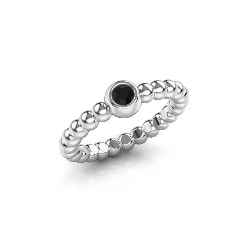 Aanschuifring Dini 585 witgoud zwarte diamant 0.12 crt