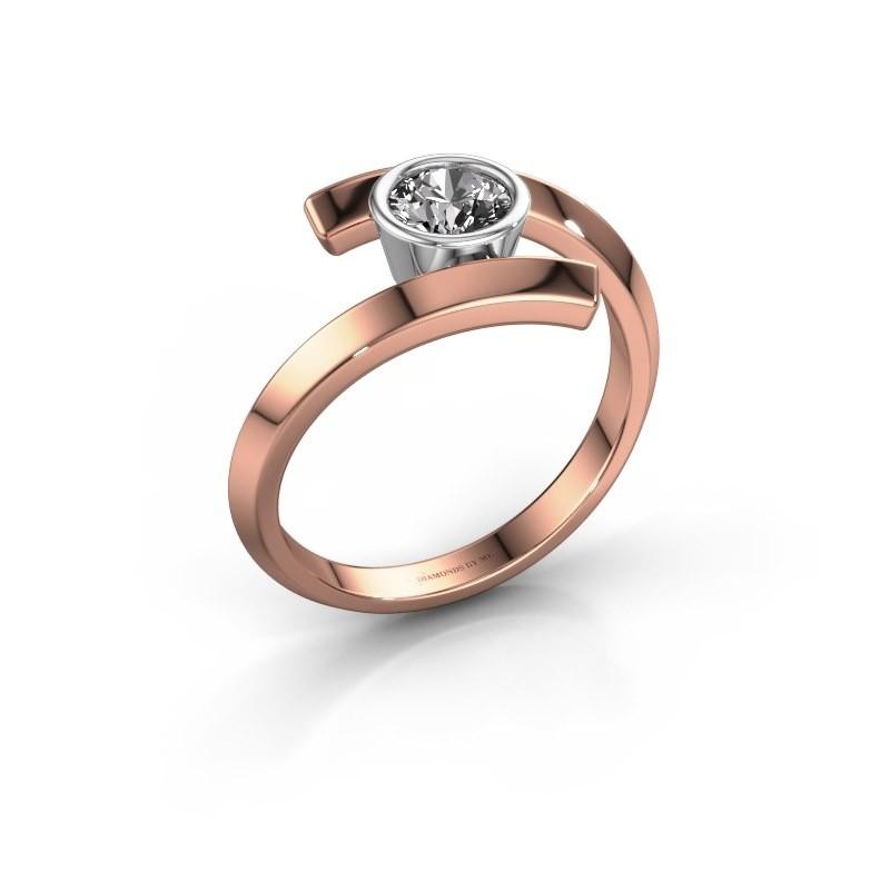 Bague Mara 585 or rose diamant synthétique 0.50 crt