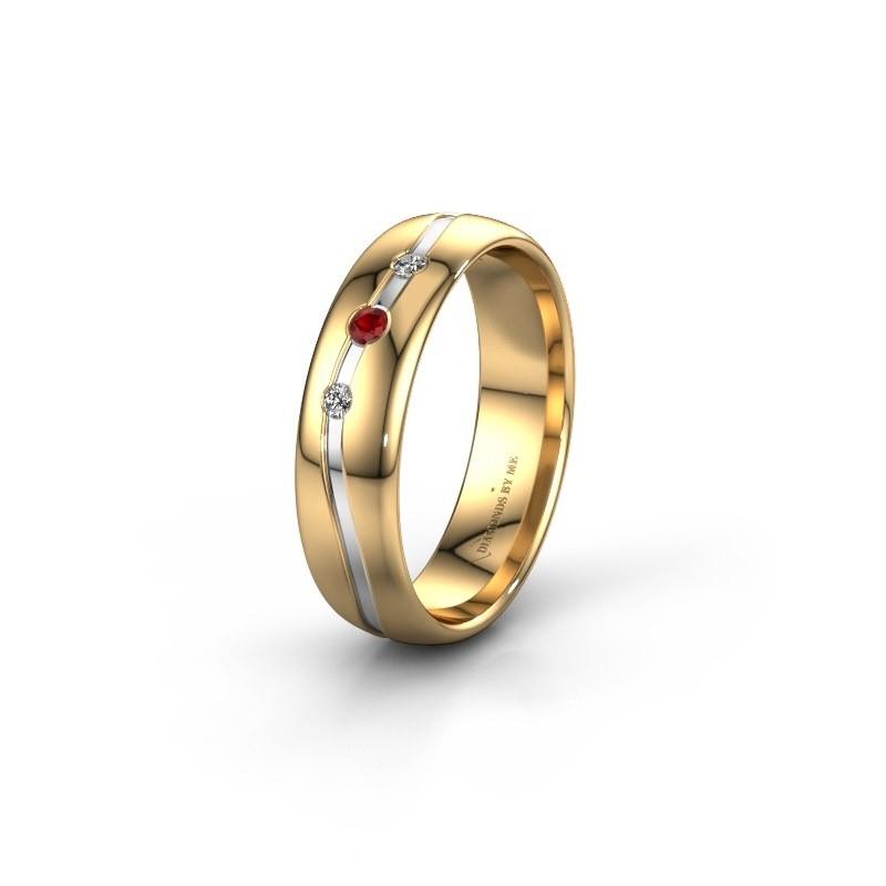Friendship ring WH0907L35X 585 gold ruby ±5x1.4 mm