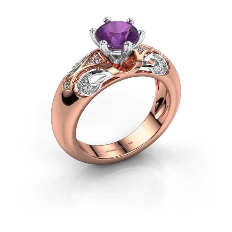 Ring Maya 585 rosé goud amethist 6.5 mm