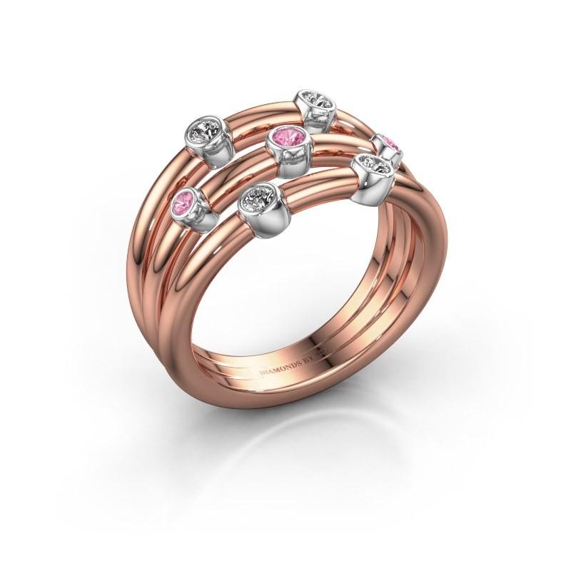 Ring Chloe 585 rose gold pink sapphire 2 mm