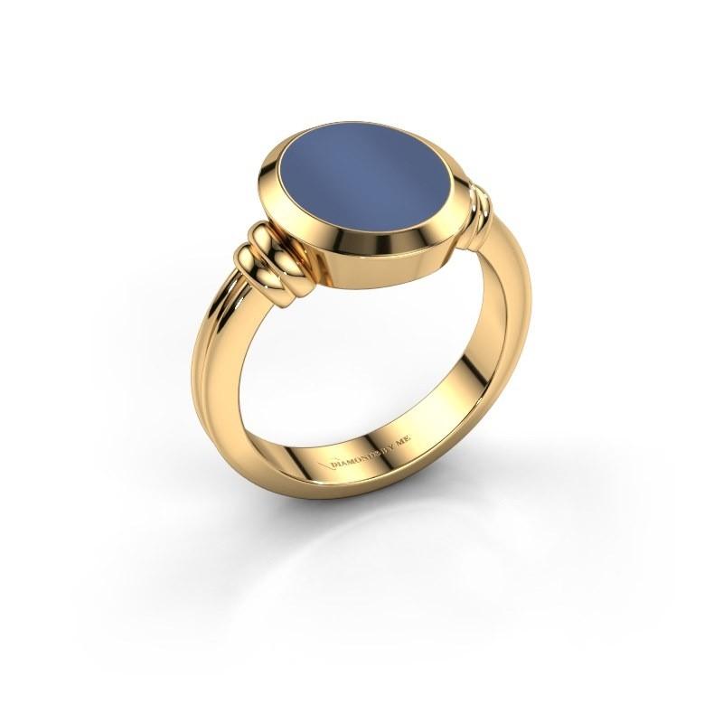 Zegelring Jake 2 585 goud blauw lagensteen 12x10 mm