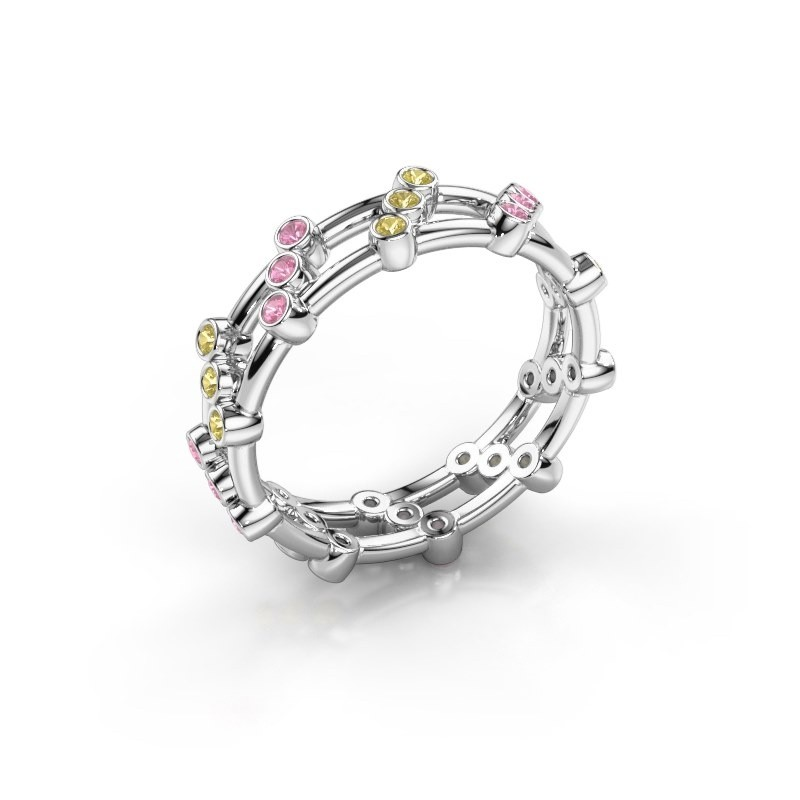 Ring Floortje 585 white gold pink sapphire 1.4 mm
