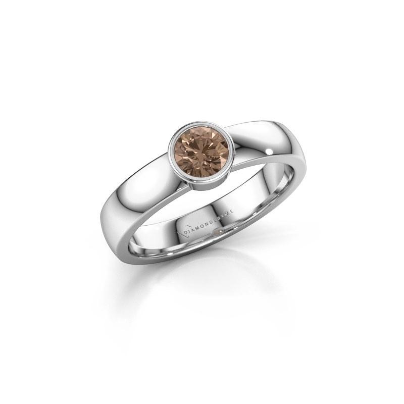 Ring Ise 1 950 platina bruine diamant 0.40 crt