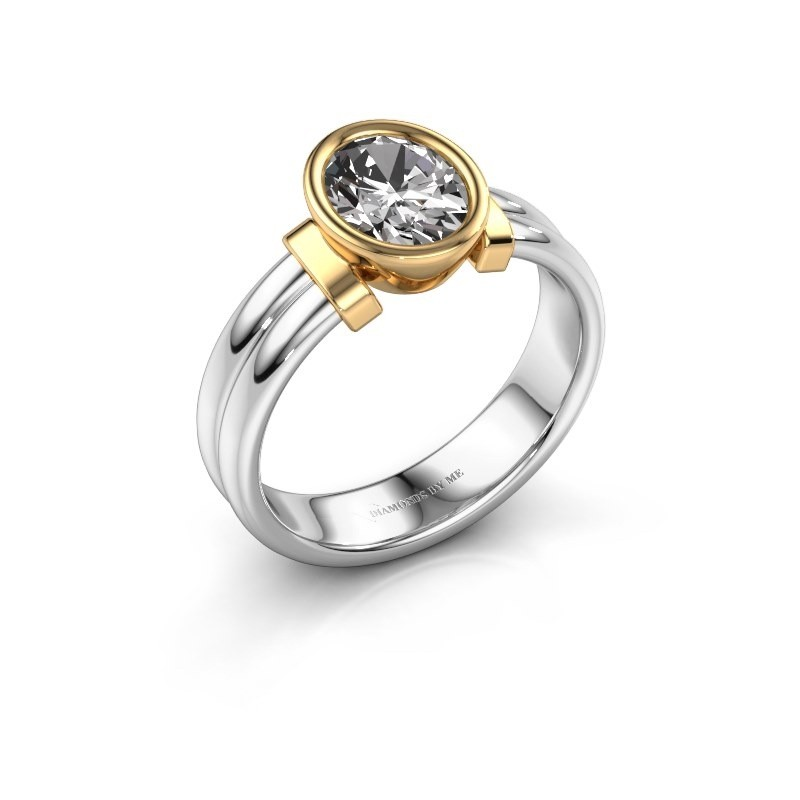 Ring Gerda 585 white gold zirconia 8x6 mm