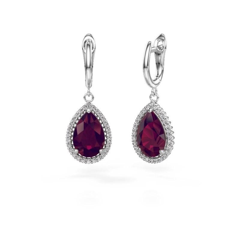 Drop earrings Tilly per 3 950 platinum rhodolite 12x8 mm
