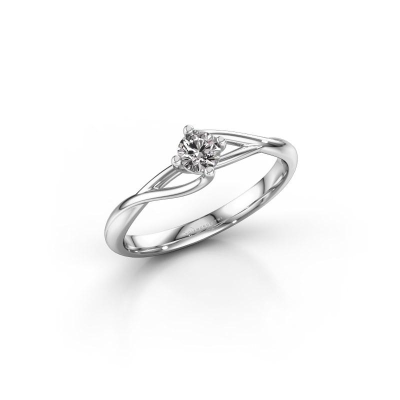 Engagement ring Paulien 585 white gold lab grown diamond 0.25 crt