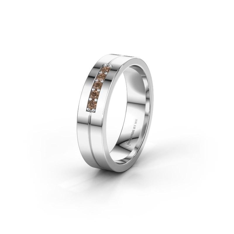Wedding ring WH0211L15AP 950 platinum brown diamond ±0.20x0.07 in