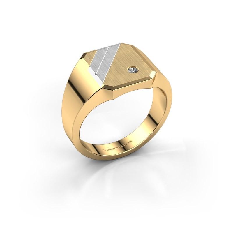 Zegelring Patrick 2 585 goud diamant 0.03 crt