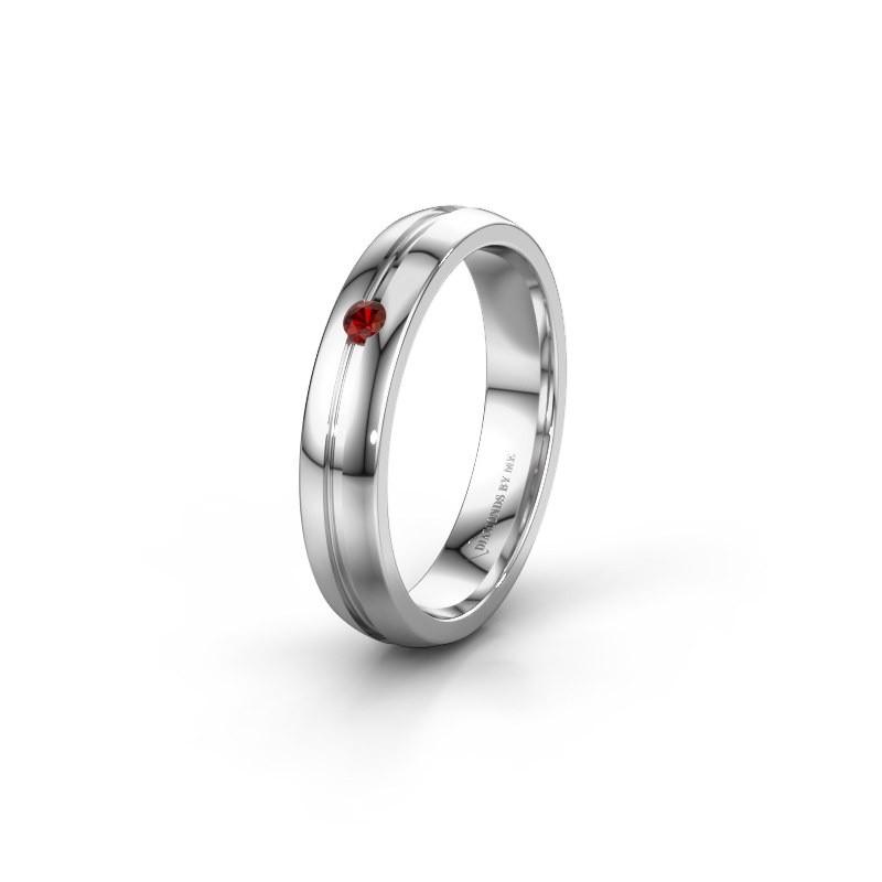 Wedding ring WH0424L24A 950 platinum garnet ±0.16x0.07 in