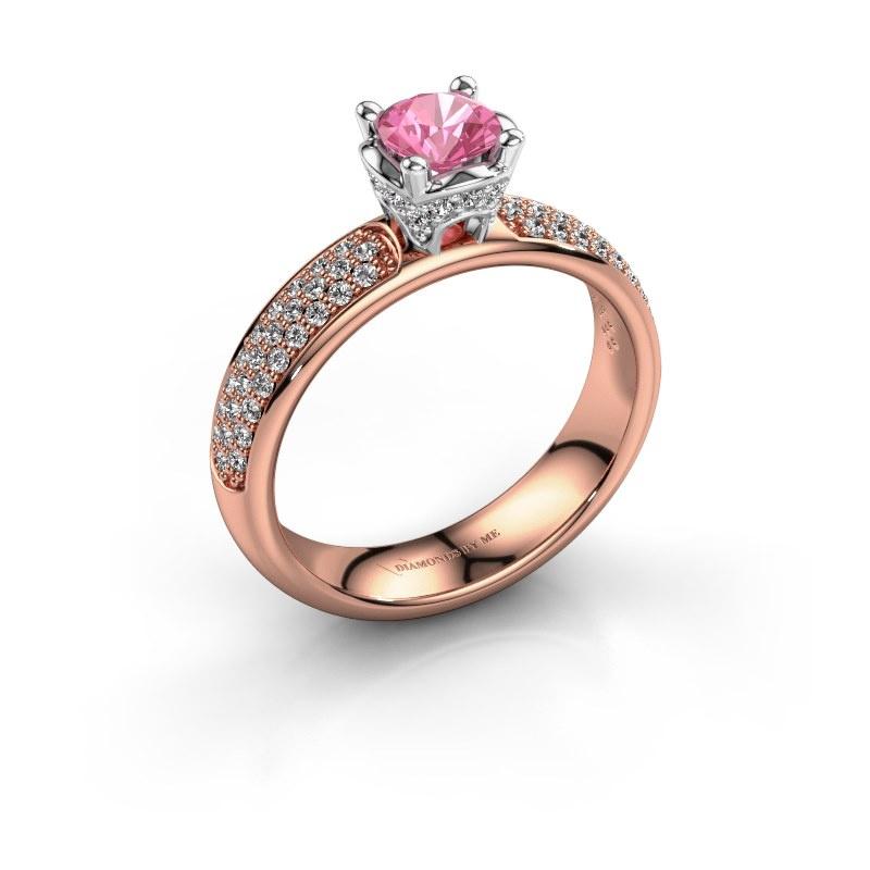 Aanzoeksring Ecrin 585 rosé goud roze saffier 5 mm