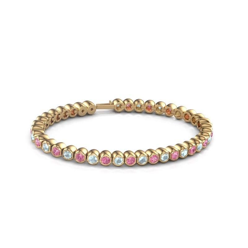 Tennisarmband Mellisa 375 goud roze saffier 3.5 mm