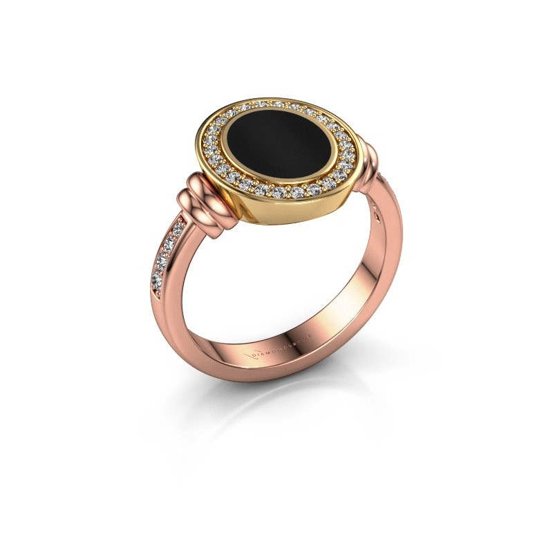 Signet ring Bailey 585 rose gold onyx 10x8 mm