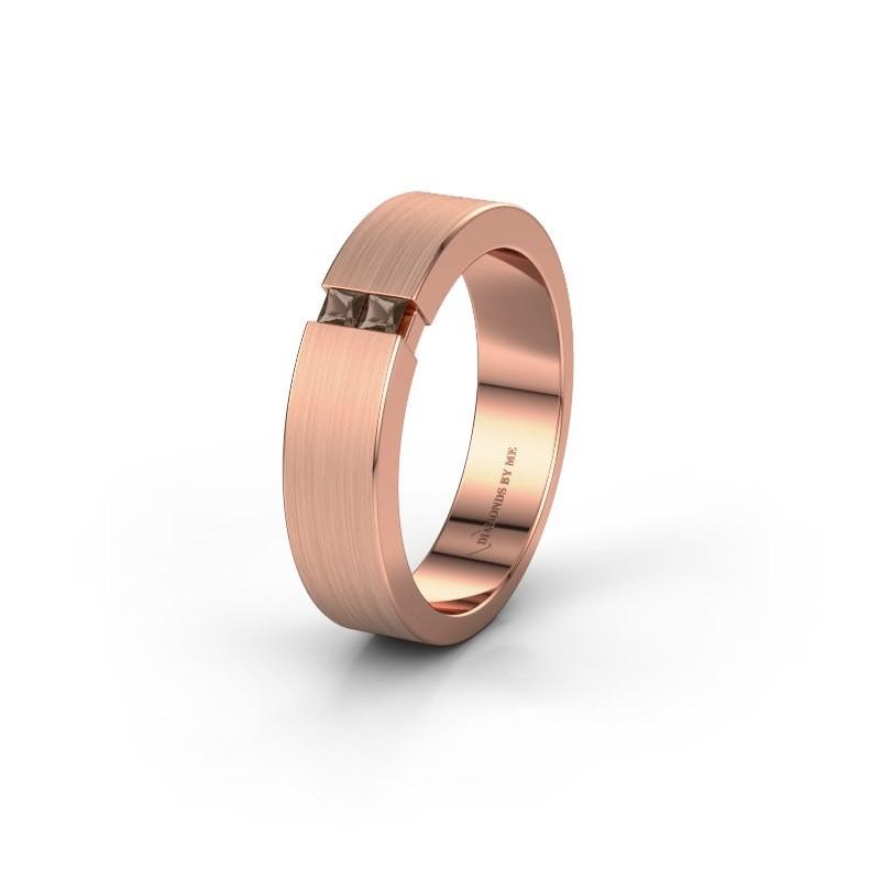 Trouwring WH2136L15E 375 rosé goud rookkwarts ±5x2.6 mm