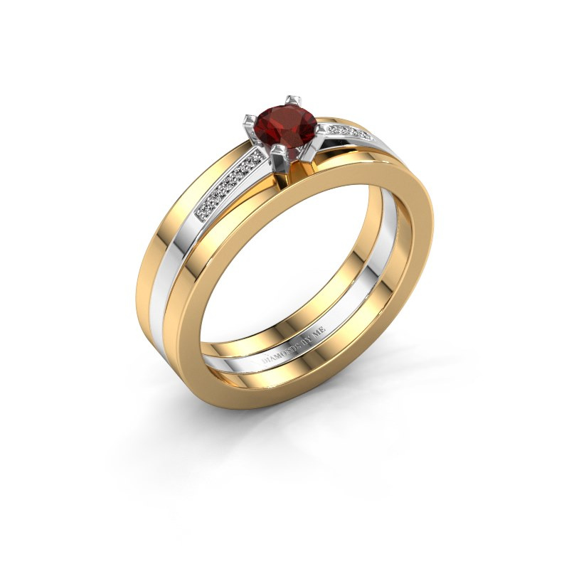 Verlobungsring Celeste 585 Weißgold Granat 4 mm