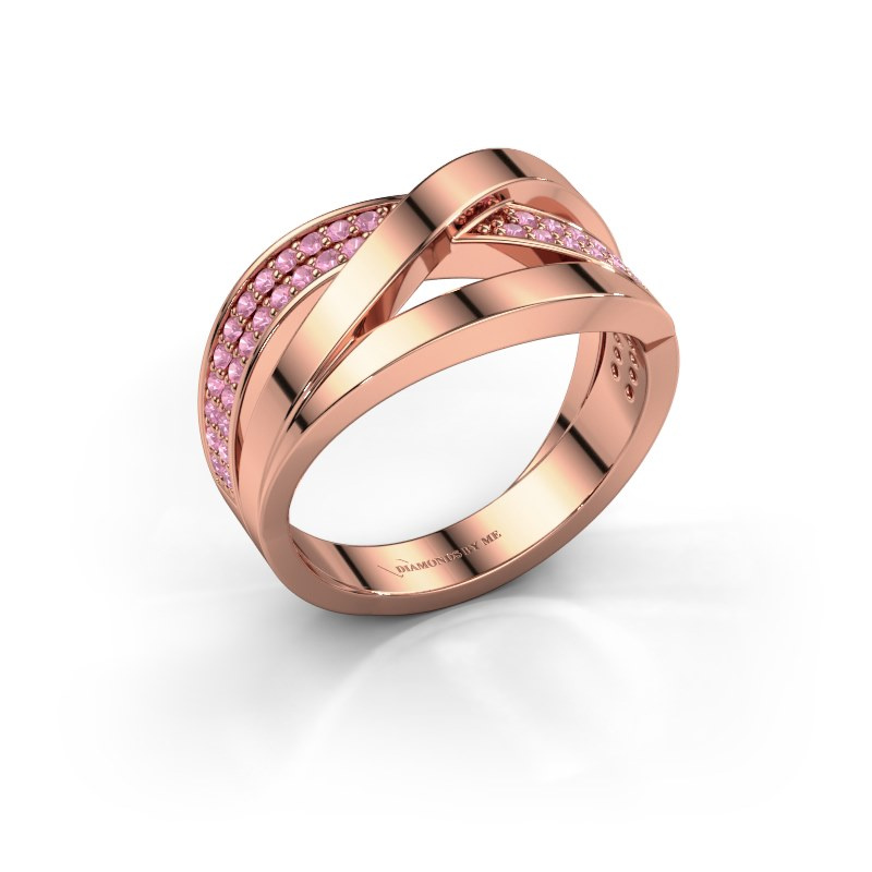 Ring Amira 585 rose gold pink sapphire 1.2 mm