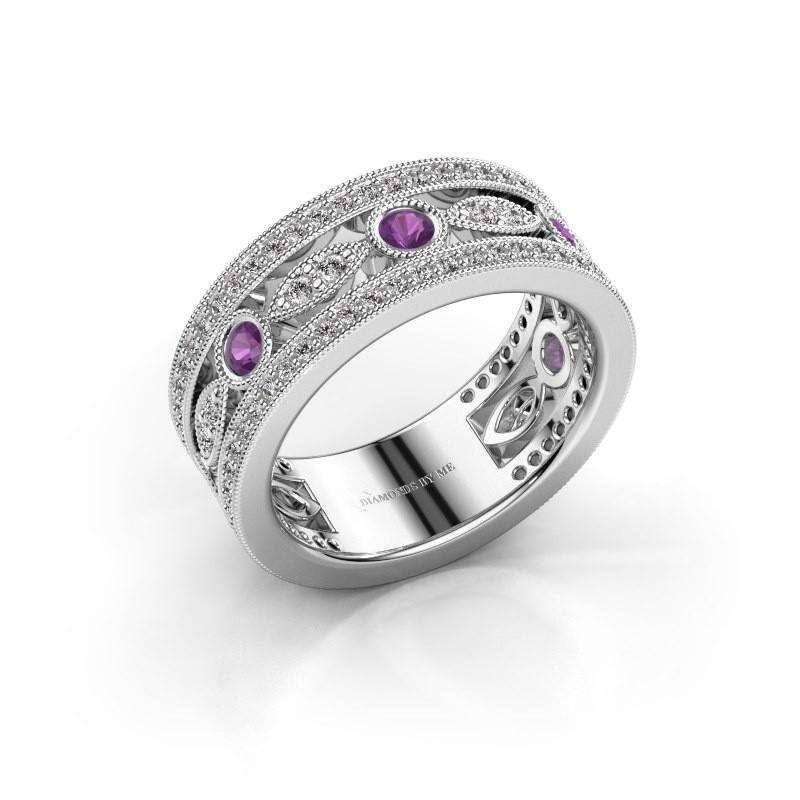 Ring Jessica 950 platina amethist 2.5 mm
