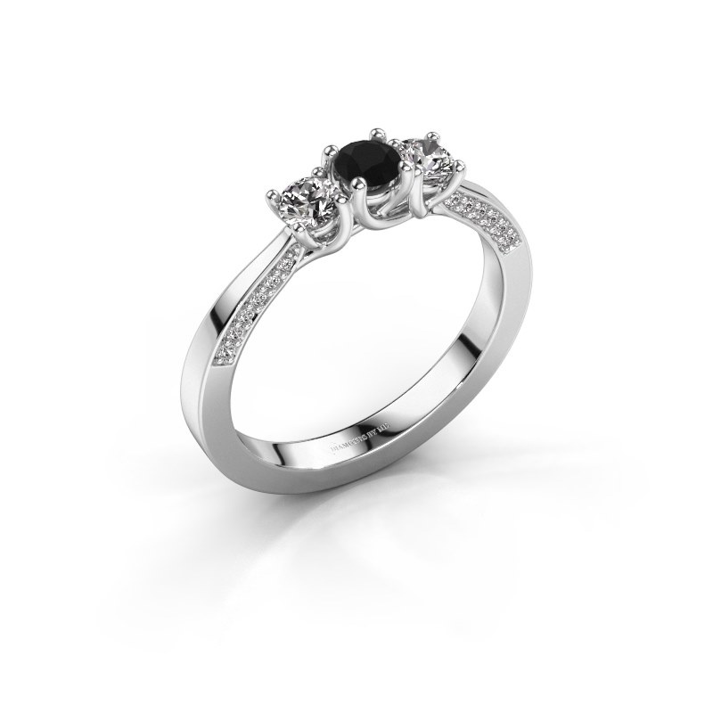 Verlobungsring Rivka 925 Silber Schwarz Diamant 0.53 crt