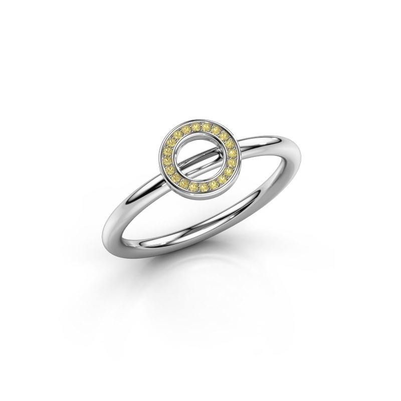 Ring Shape round small 925 zilver gele saffier 0.8 mm