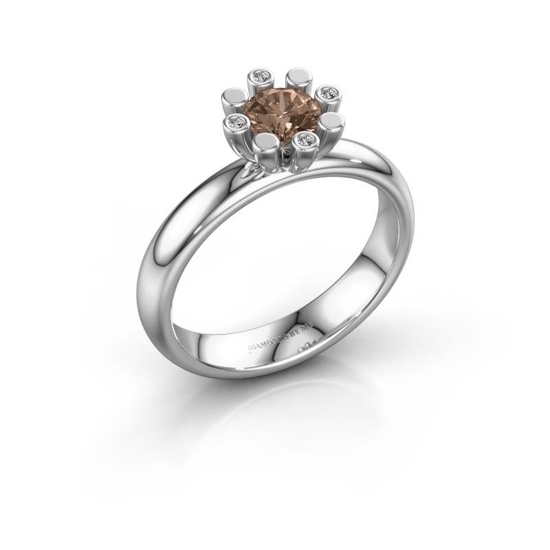 Stapelring Carola 2 925 zilver bruine diamant 0.52 crt