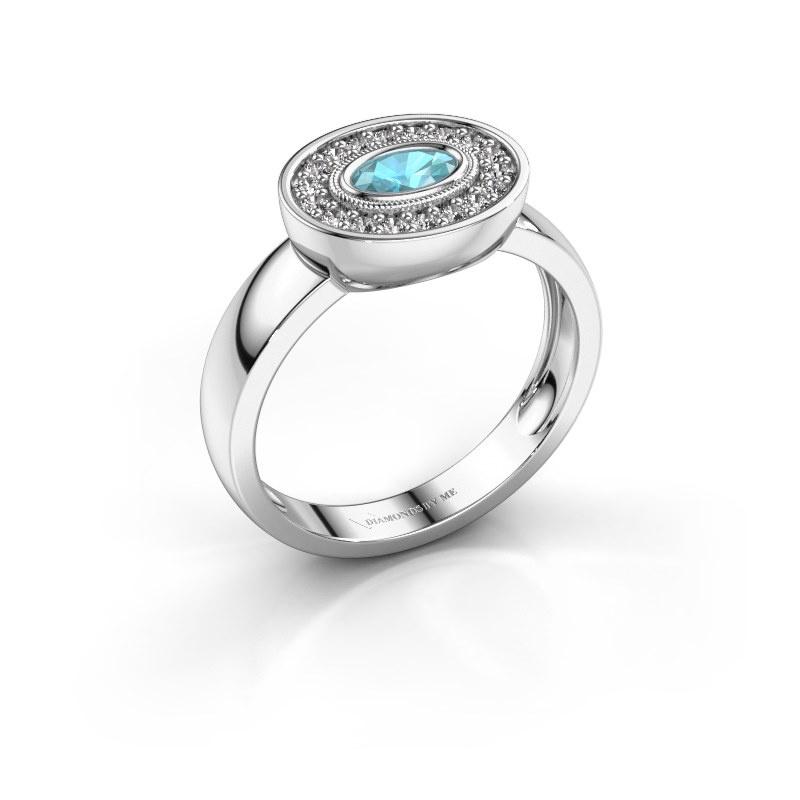 Ring Azra 925 Silber Blau Topas 5x3 mm