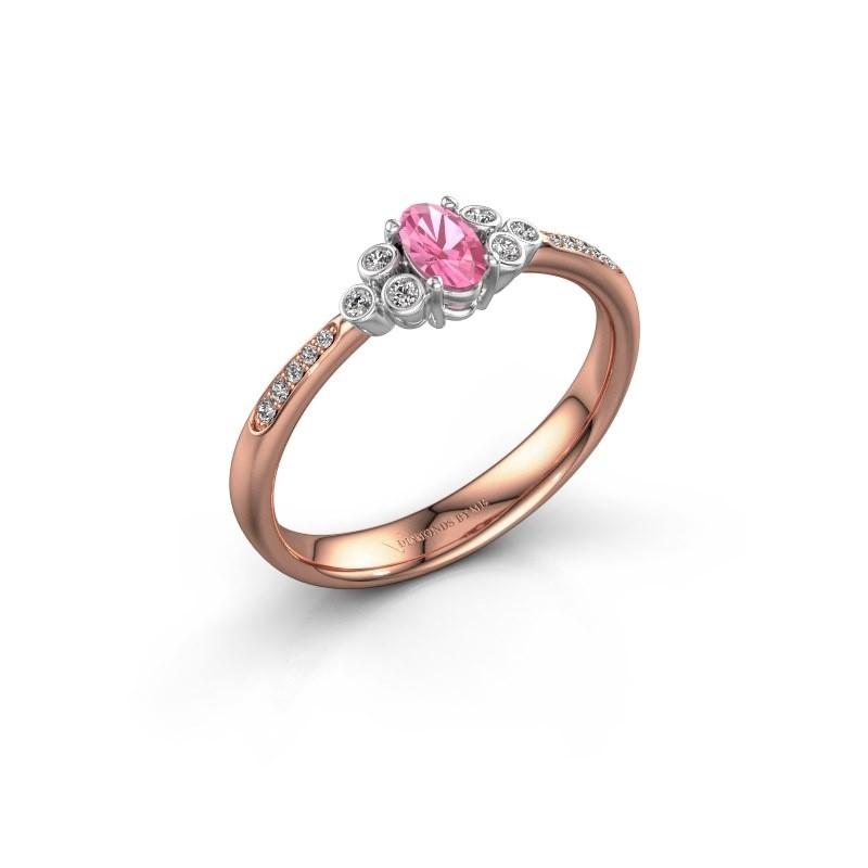 Verlovingsring Lucy 2 585 rosé goud roze saffier 7x5 mm