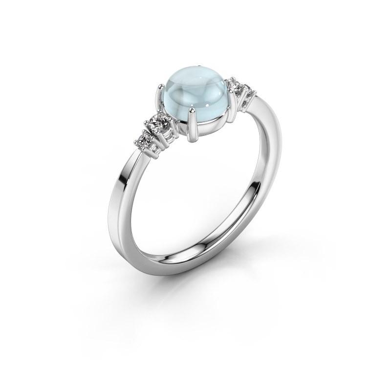 Ring Regine 925 zilver aquamarijn 6 mm