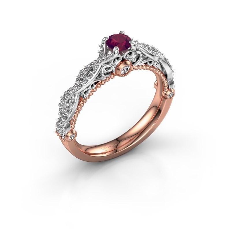 Verlovingsring Chantelle 585 rosé goud rhodoliet 4 mm