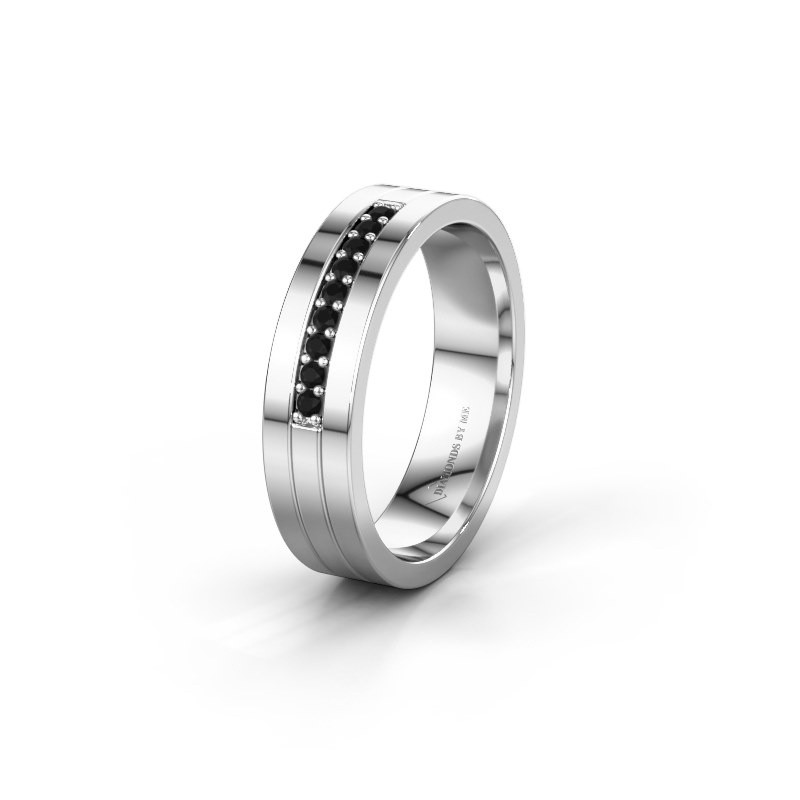 Trouwring WH0413L15AP 925 zilver zwarte diamant ±5x1.7 mm
