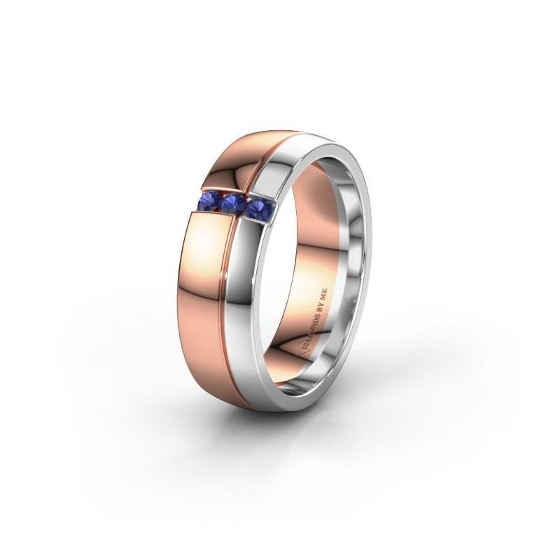Trouwring WH0223L56A 585 rosé goud saffier ±6x1.7 mm