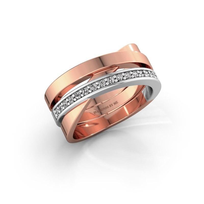 Ring Yolando 585 rosé goud zirkonia 1.3 mm