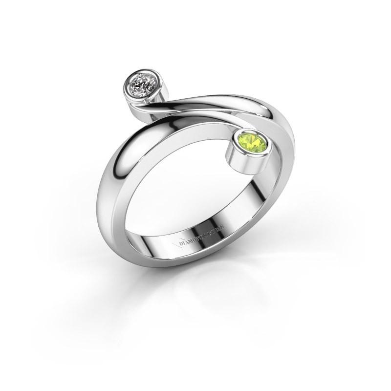 Ring Hilary 585 witgoud peridoot 2.5 mm
