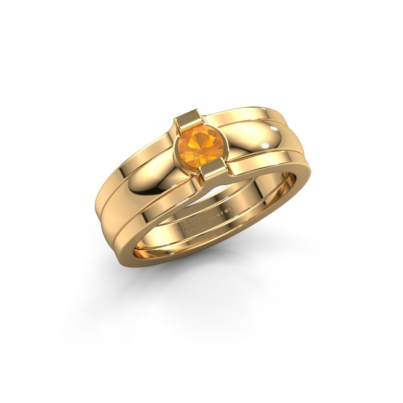 Ring Jade 585 gold citrin 4 mm