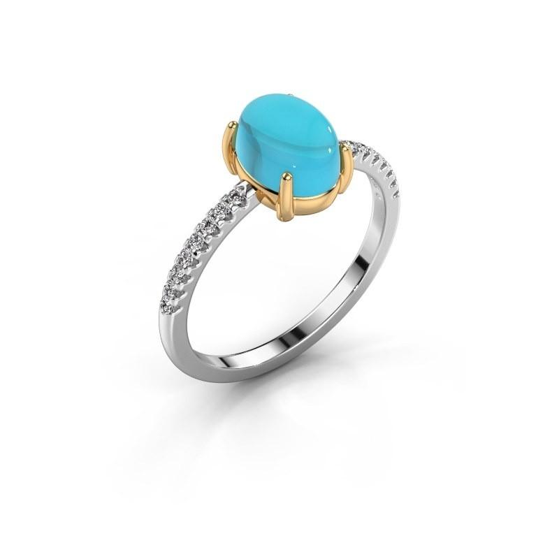 Ring Becky 585 witgoud blauw topaas 8x6 mm
