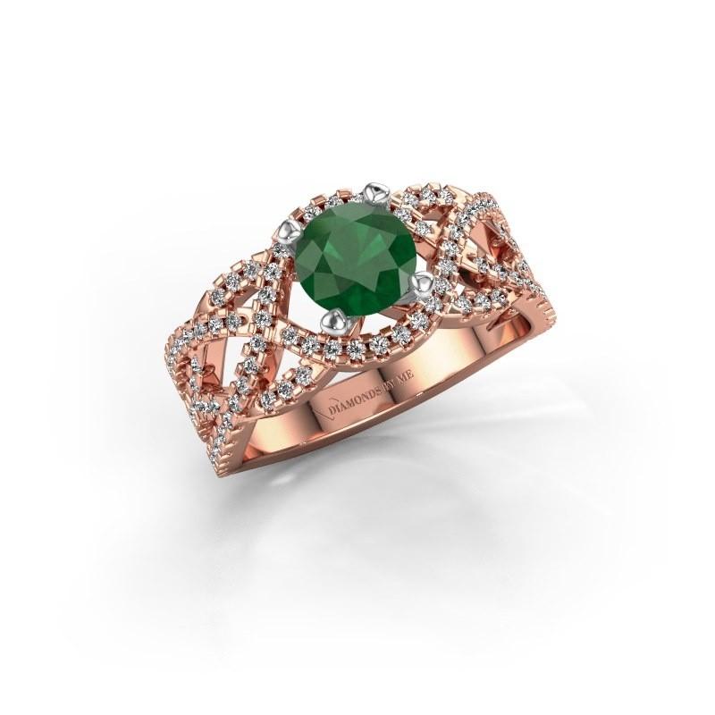 Verlovingsring Jeni 585 rosé goud smaragd 6.5 mm