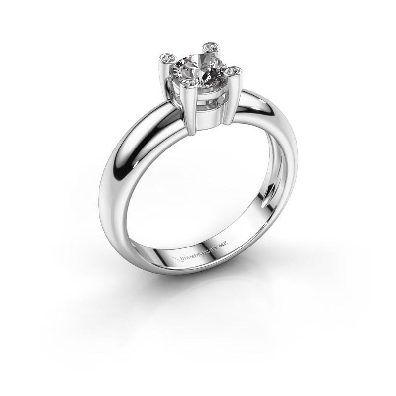 Ring Fleur 585 witgoud diamant 0.42 crt