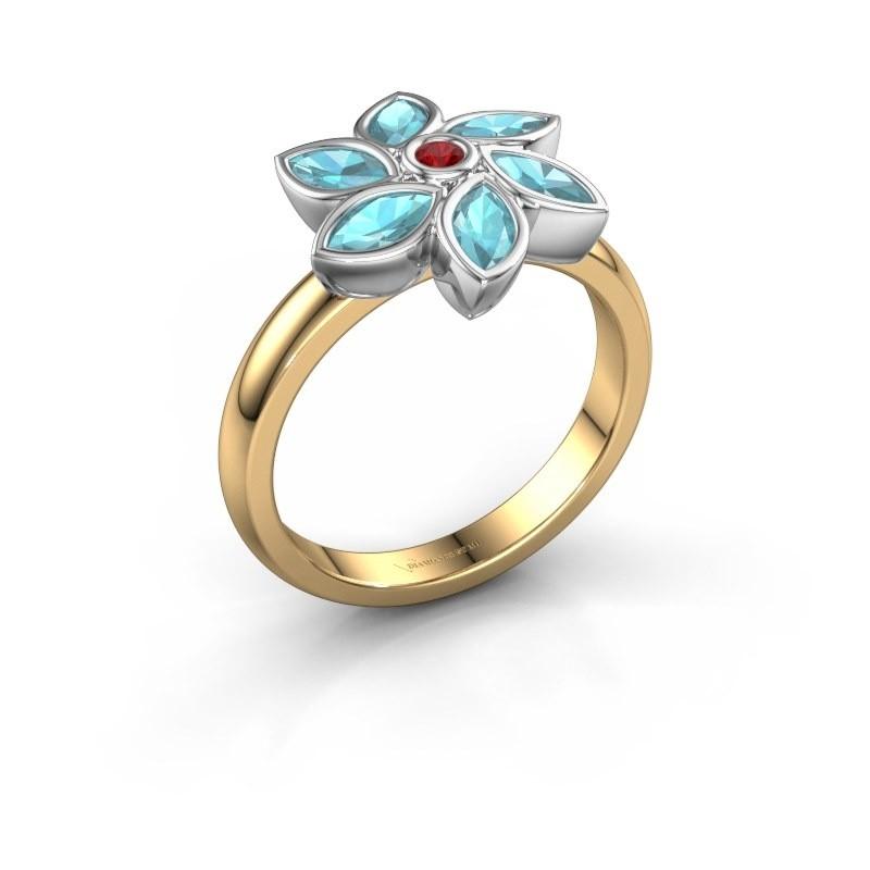 Ring Amina 585 goud robijn 2 mm