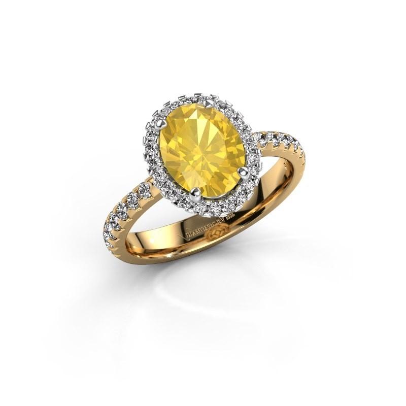 Verlovingsring Lavelle 585 goud gele saffier 9x7 mm