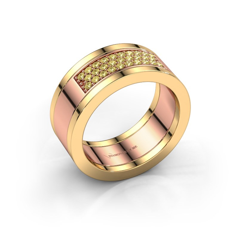 Ring Marita 3 585 rosé goud gele saffier 1.3 mm