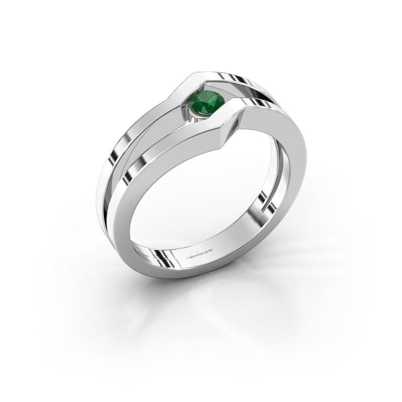 Ring Elize 585 witgoud smaragd 3.4 mm