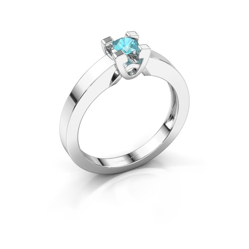 Verlovingsring Nina 1 925 zilver blauw topaas 3.7 mm