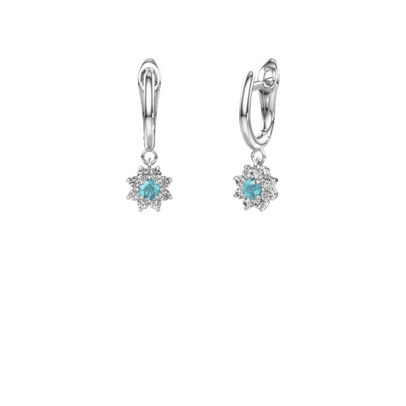 Drop earrings Camille 1 585 white gold blue topaz 3 mm