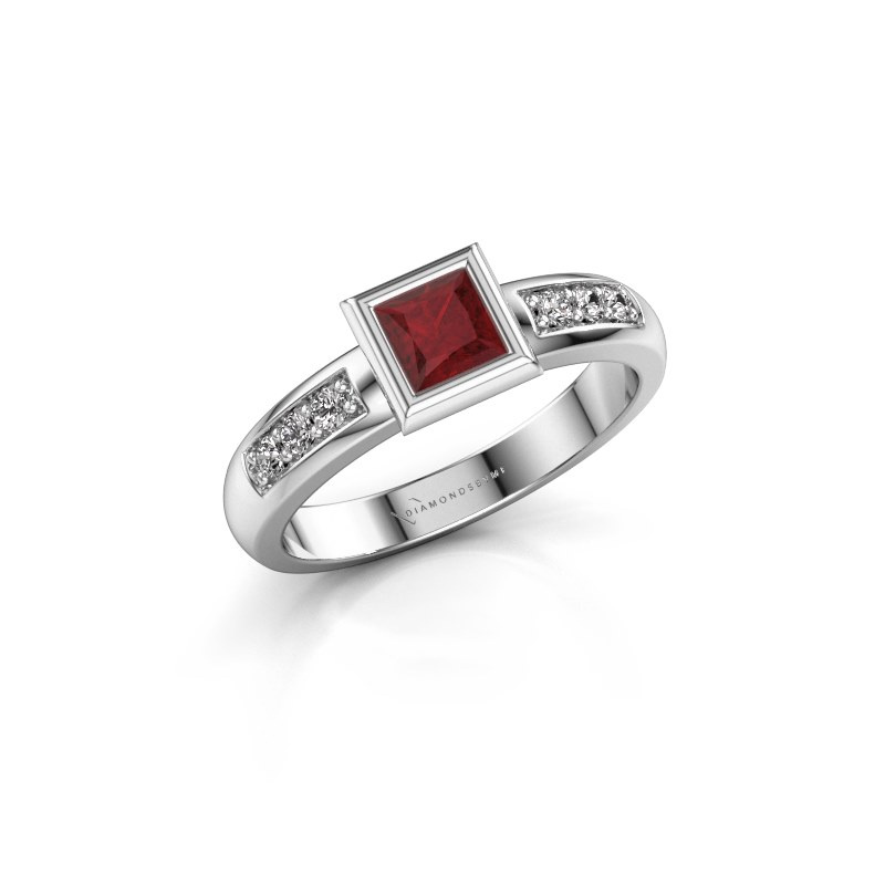 Stacking ring Lieke Square 925 silver ruby 4 mm