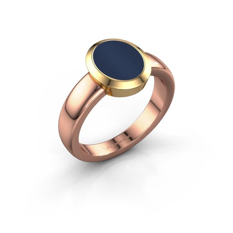 Signet ring Freeda 1 585 rose gold dark blue sardonyx 10x8 mm